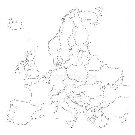 Puste Kontur Mapa Europy Rysunki Kolorowanki Mapa