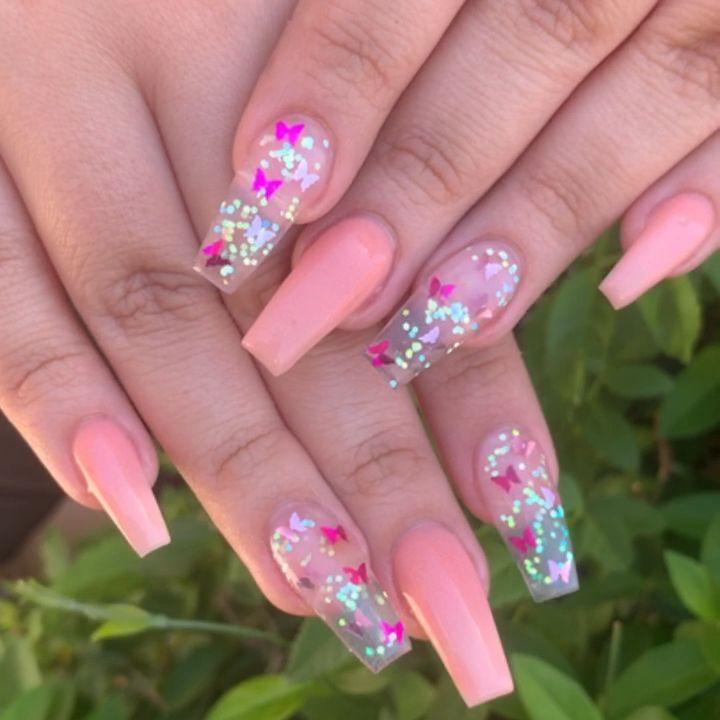 Pink Nails With Butterflies Pink Nail Art Pink Nails Light Pink Nails