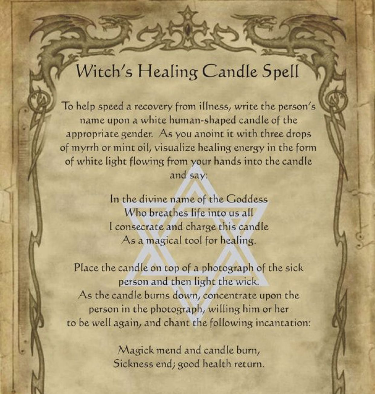 Witch S Healing Candle Spell Wiccan Spell Book Witchcraft Spell Books Healing Candle Spell