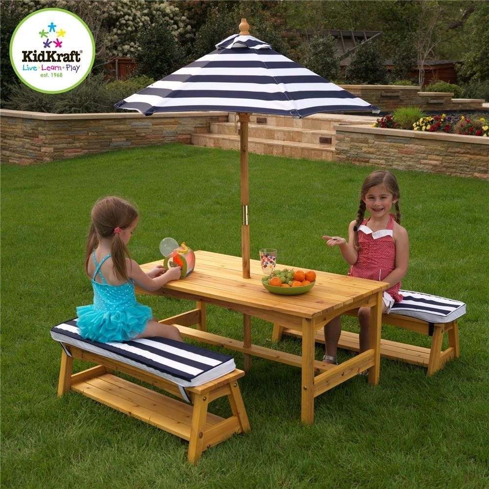 Amazon Com Kidkraft Outdoor Table And Chair Set With Cushions And
