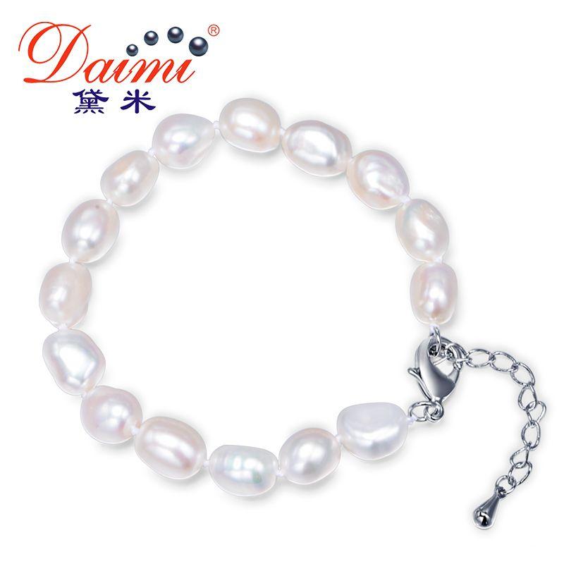 DAIMI 9-10mm Barroco Pulsera Natural de Agua Dulce Blanco Brazalete de Perlas de 6 Colores Para la Opción de Regalo de Navidad Para Las Mujeres