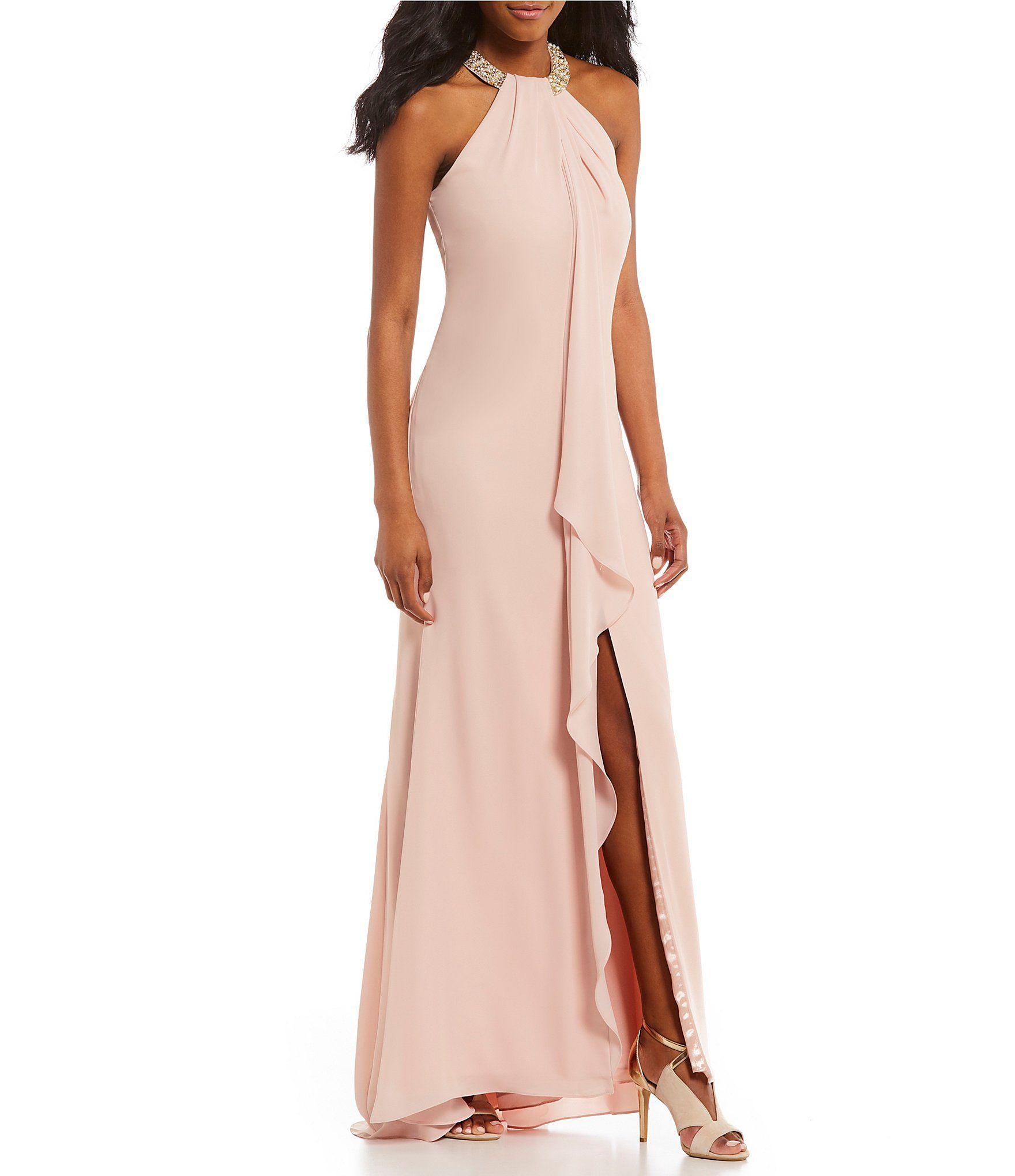 Calvin Klein Slit Ruffle Front Beaded Halter Gown