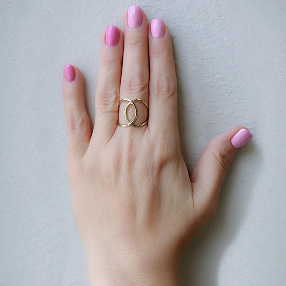 14k Solid Gold Swirl Ring Middle Finger Ring Fancy Ring Knuckle
