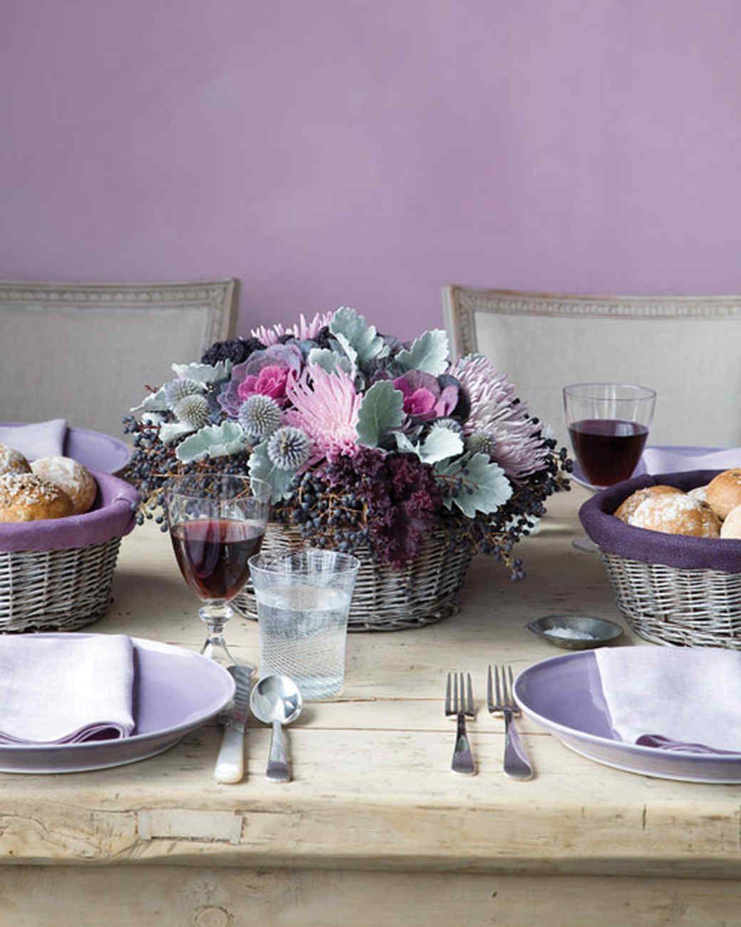 Silver Coated Lined Basket Centerpiece Martha Stewart ThanksgivingThanksgiving TableDining