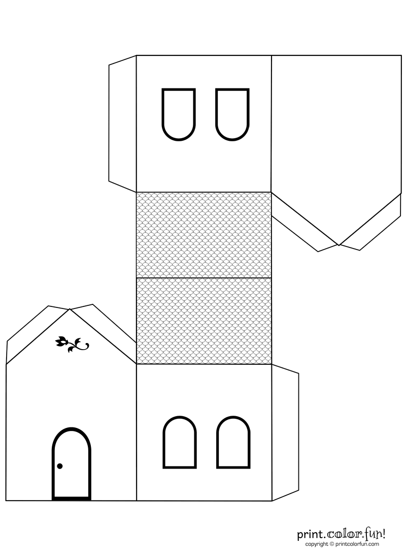 House Cutout Craft To Color Print Color Fun Free Printables Coloring Pages Crafts Puzzles Cards To P Paper House Template House Template Paper Houses