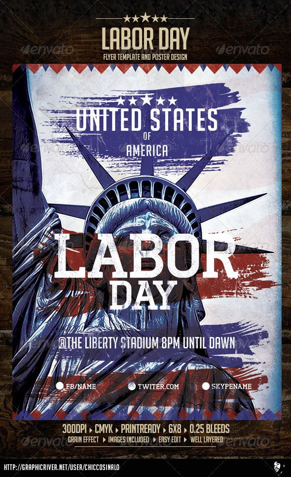 Labor Day Flyer Template | Flyer Template, Font Logo And Fonts