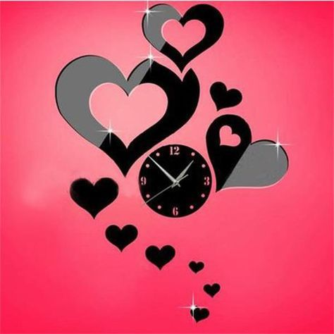 3d Acrylic Mirror Wall Clock Sticker LOVE Mirror Clock Modern Wall ...
