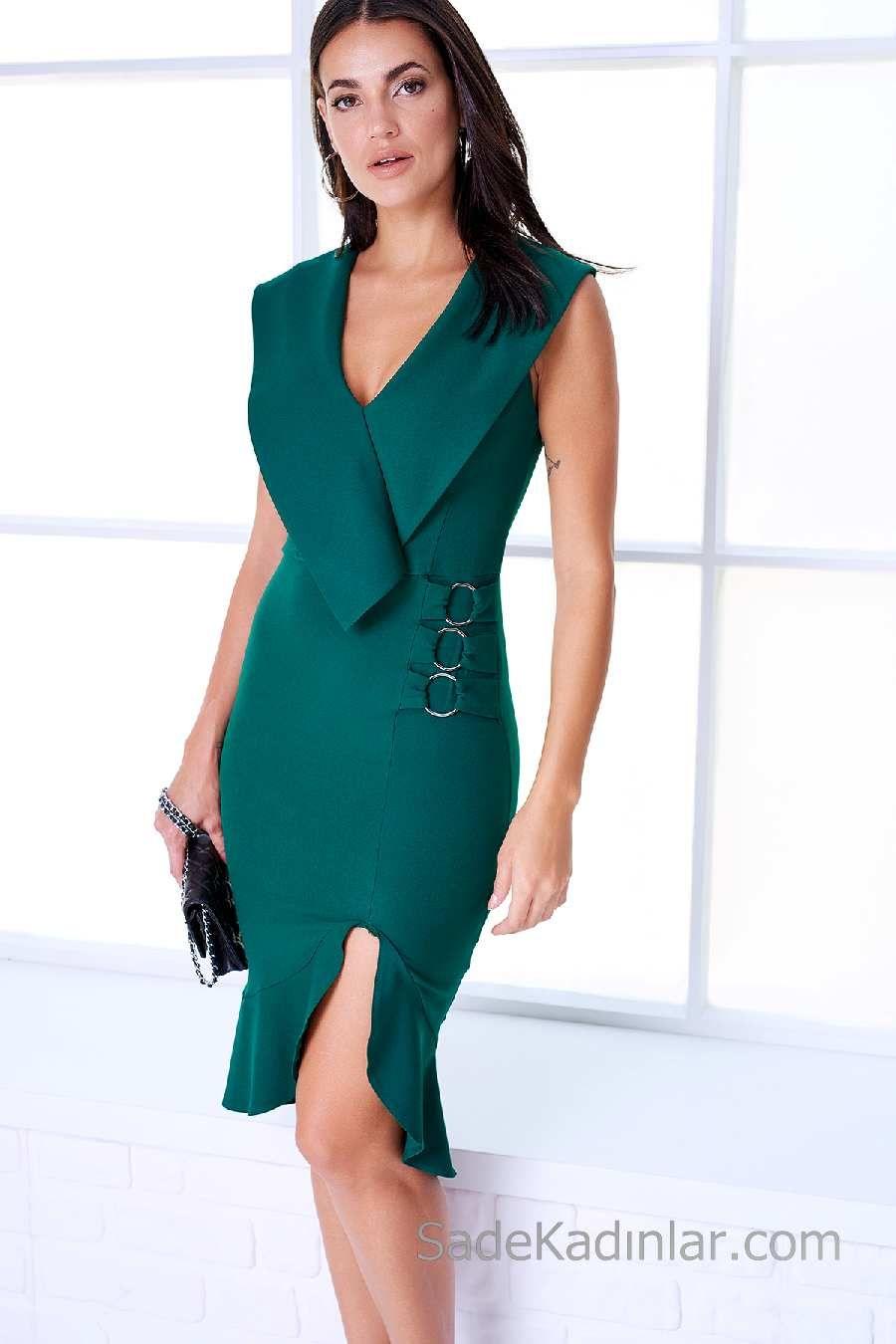 0260909c1002f 2018 Gece Elbise Modelleri Yeşil Kısa V Yakalı Yırtmaçlı Belinden Halka Süs  Detaylı