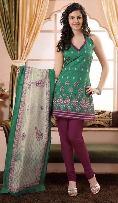 Turquoise Magenta Cotton Embroidered Party Wear Dress Material.    Product Code : G3-LDM203418  Price : INR RS 1152
