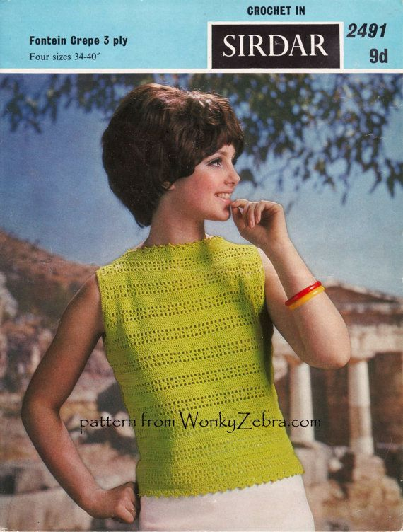 Vintage Crochet Bateau Neck Shell Top Pattern Pdf 720 From