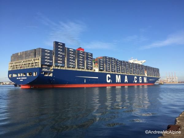 CMA CGM Kerguelen arriving at the port