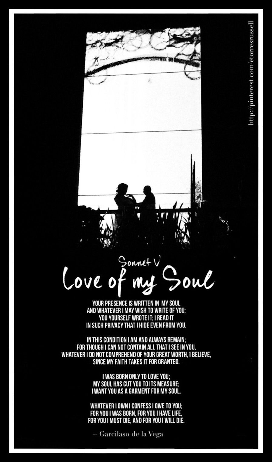 Sonnet V. LOVE OF MY SOUL by Garcilaso de la Vega