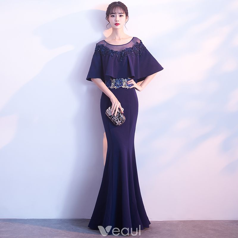 Elegant Navy Blue See-through Evening Dresses 2018 Trumpet   Mermaid Scoop  Neck 1 2 Sleeves Appliques Lace Rhinestone Floor-Length   Long Ruffle Formal  ... 40674996549a