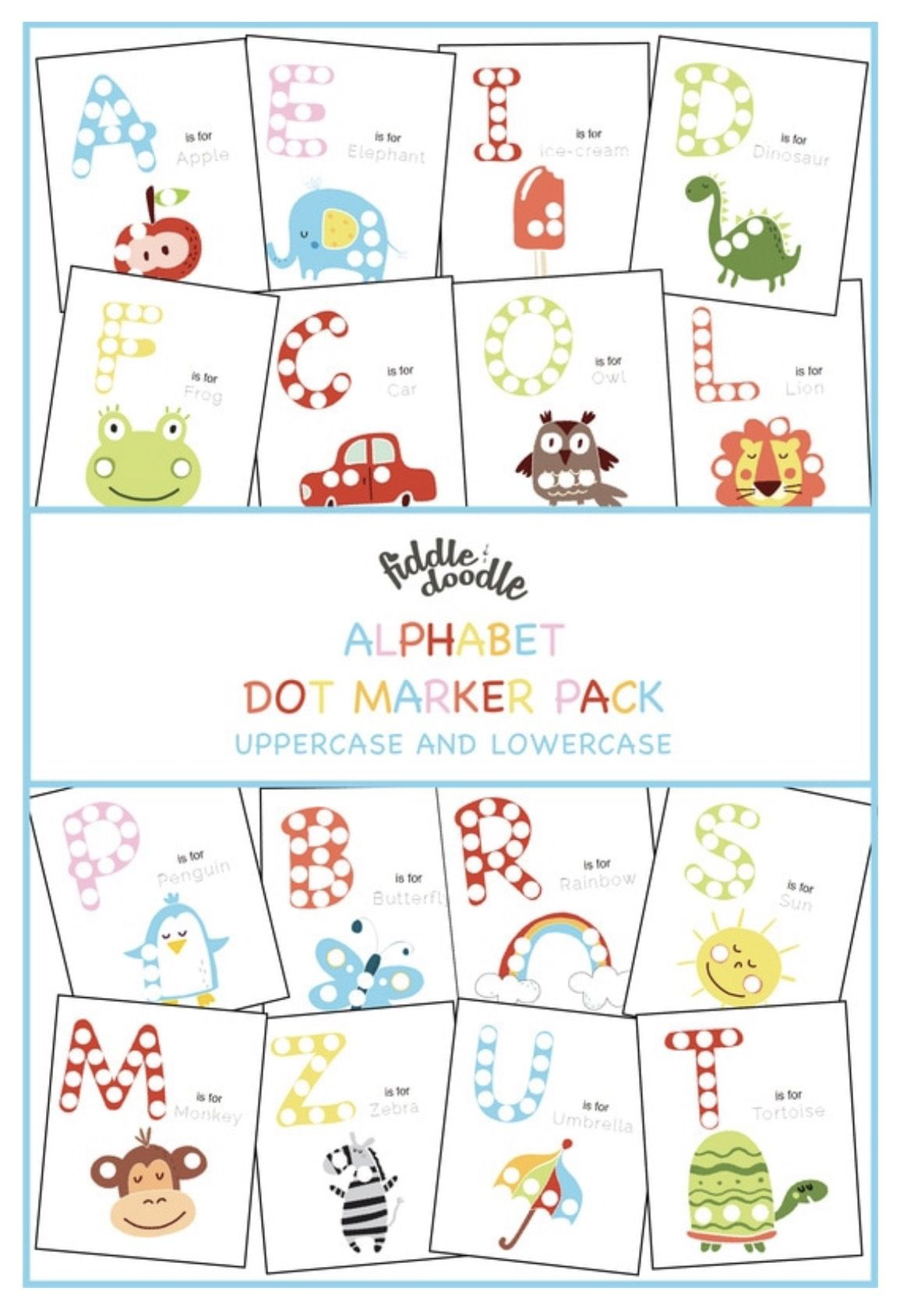 Free Uppercase And Lowercase Alphabet Dot Markers