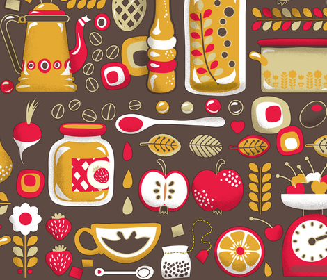 Mums Kitchen Wallpaper fabric by irrimiri on Spoonflower custom