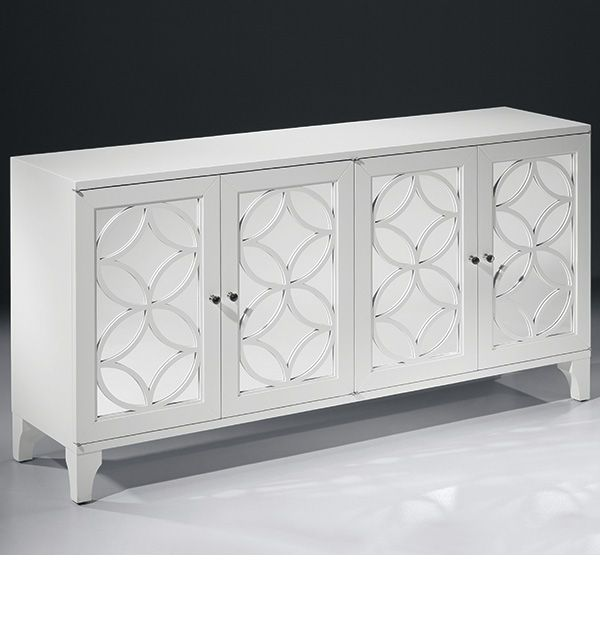 mirrored furniture - lacquered white credenza with mirrored doors ...