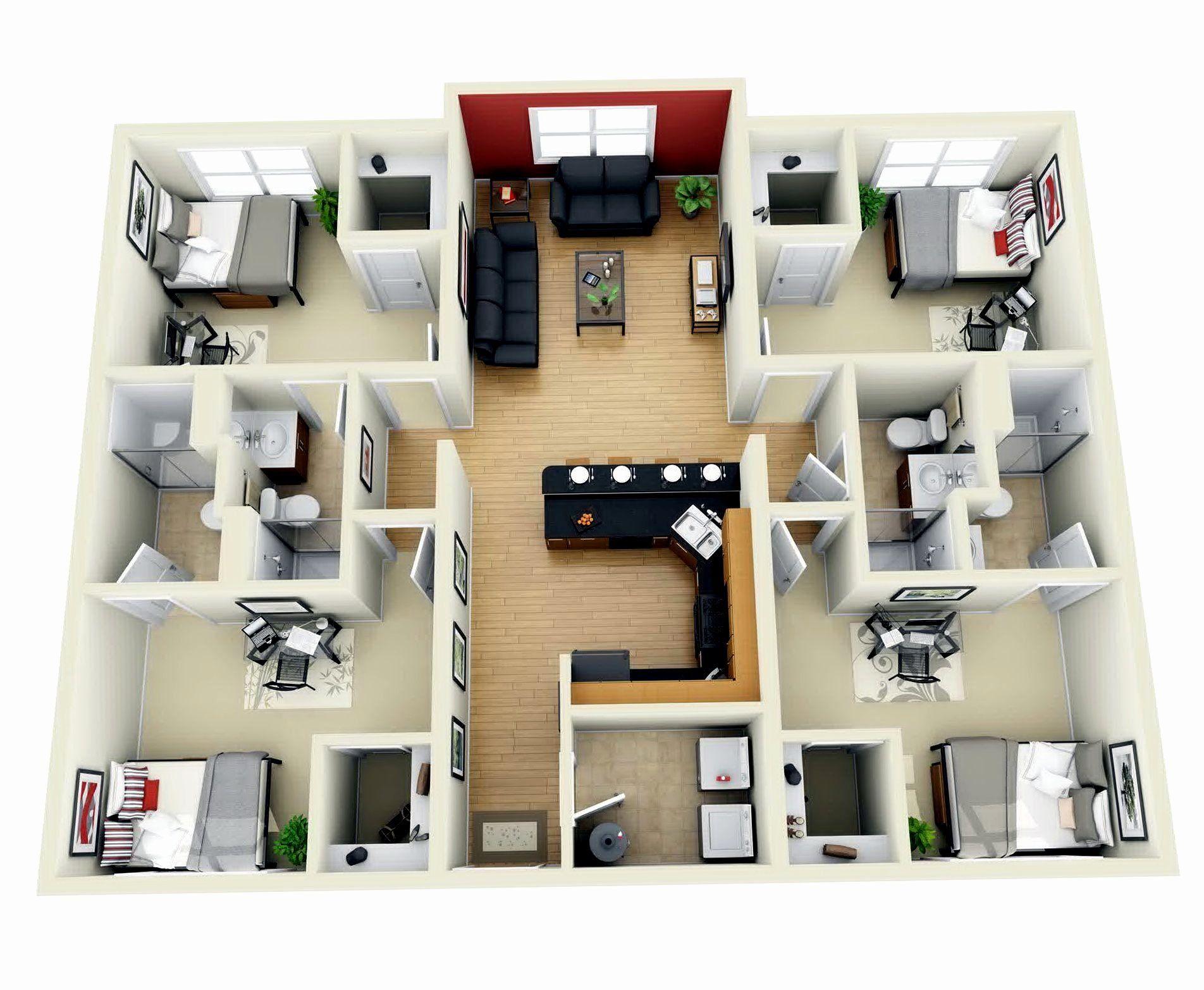 3d 4 Bedroom House Plans Elegant Download 4 Bedroom House Design 3d Adhome Plans 2 Bath 1 Islaminjap In 2020 Apartment Floor Plans Bedroom House Plans 3d House Plans