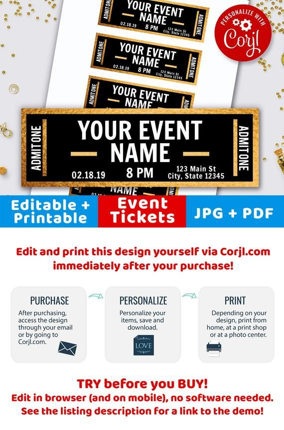 Gold Event Ticket Printables, Editable Event Tickets, Event Ticket