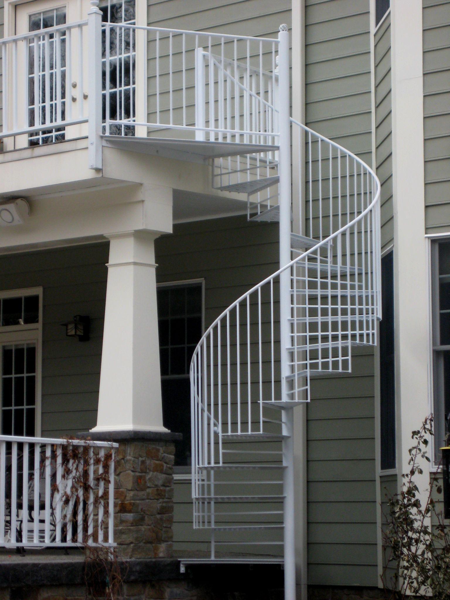 White Spiral Staircase Deck To Deck In Glen Allen Virginia