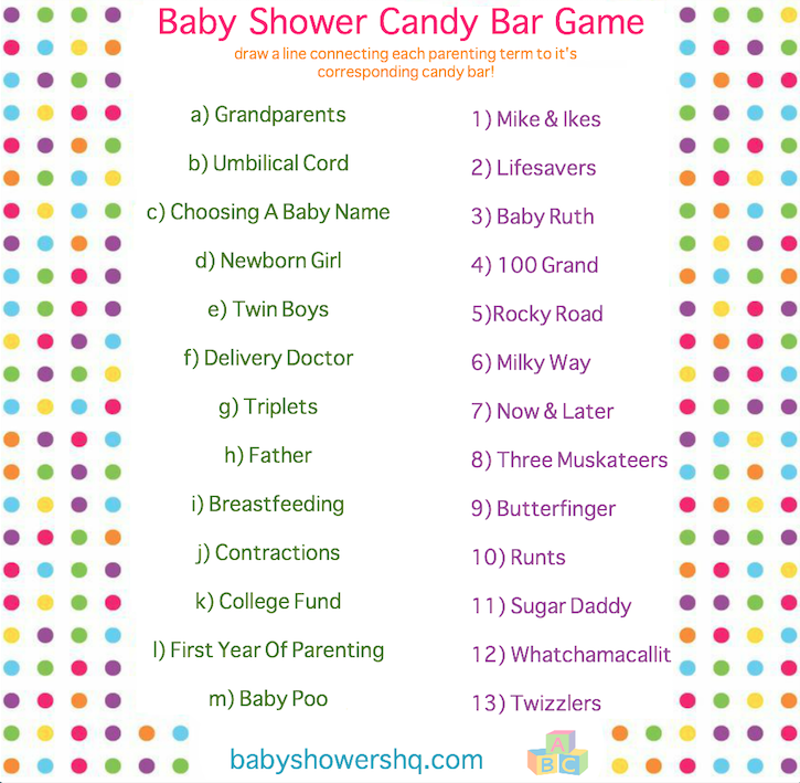 This is an image of Clean Baby Shower Candy Bar Game Printable