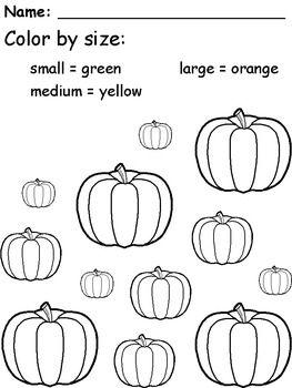 Pumpkin Coloring by Size School Halloween worksheets