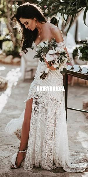 Sweetheart Lace Backless Slit Mermaid Wedding Dresses, FC2629