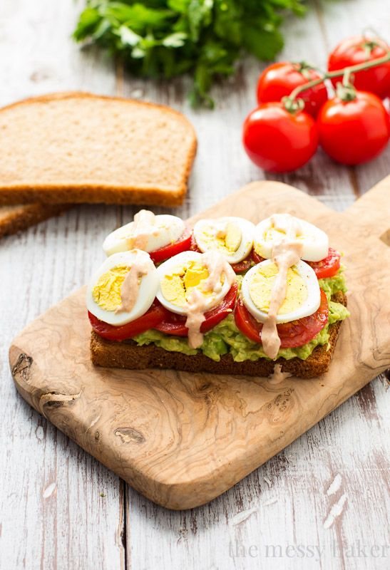 Healthy Avocado, Tomato, and #Egg Toast. This open-faced sandwich is perfect for breakfast or lunch. | www.themessybakerblog.com