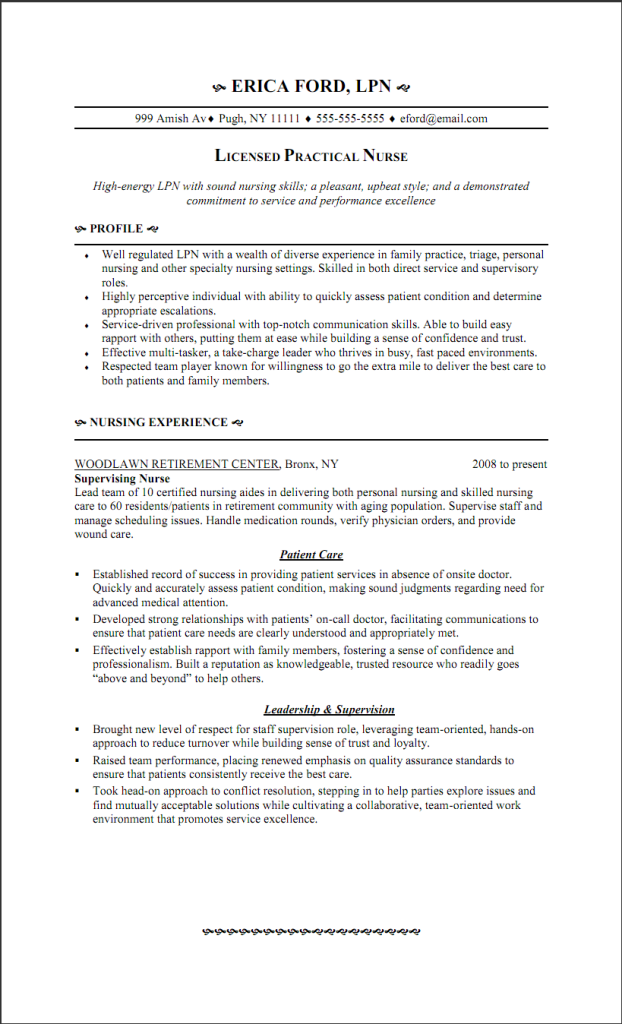 LPN Resume Writing Guide and Sample | Sample Resumes | Sample ...