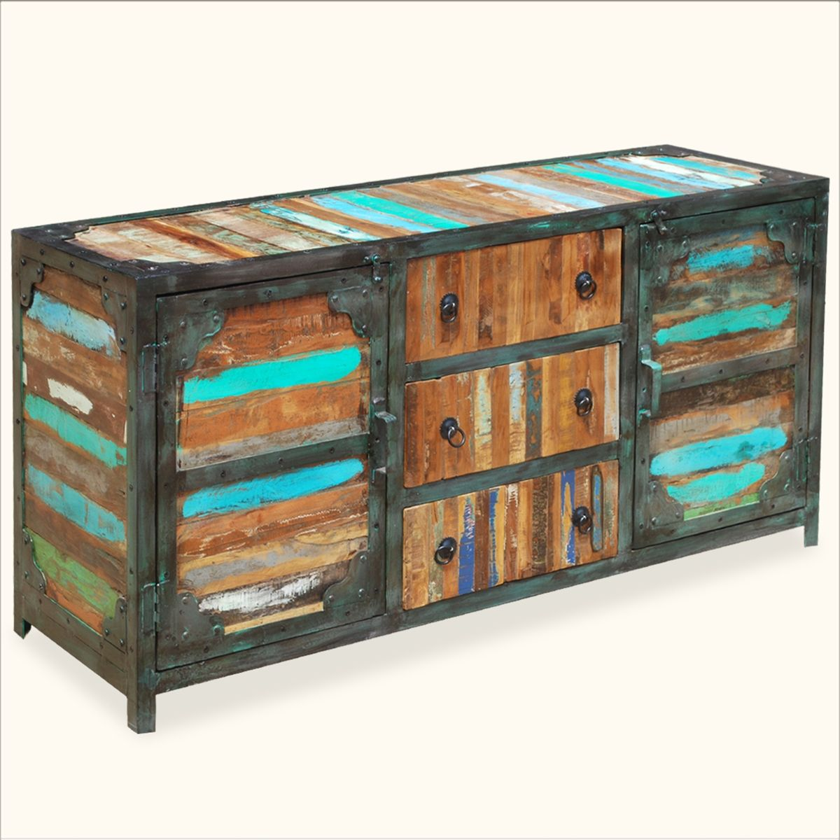 Reclaimed Wood Industrial Multi Color Iron Wood Sideboard Buffet