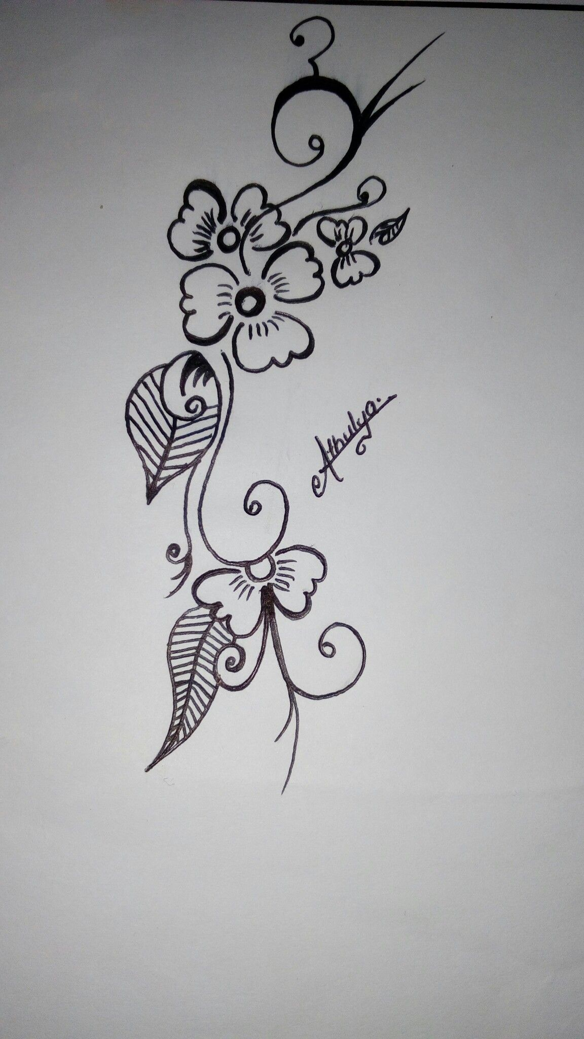 Simple and easy drawing of flower and leaves in black and
