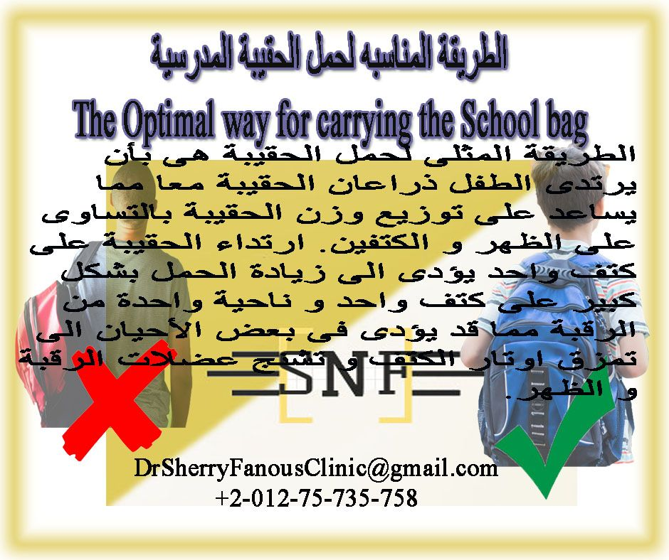 The Optimal Way For Carrying The School Bag الطريقة المناسبه لحمل الحقيبة المدرسية School Back To School Optimization