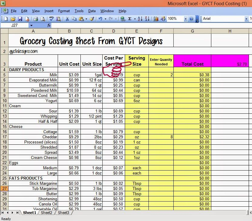 Cost of Food for Organize Me! Sizzlin\u0027 Summer Organizing - food cost spreadsheet