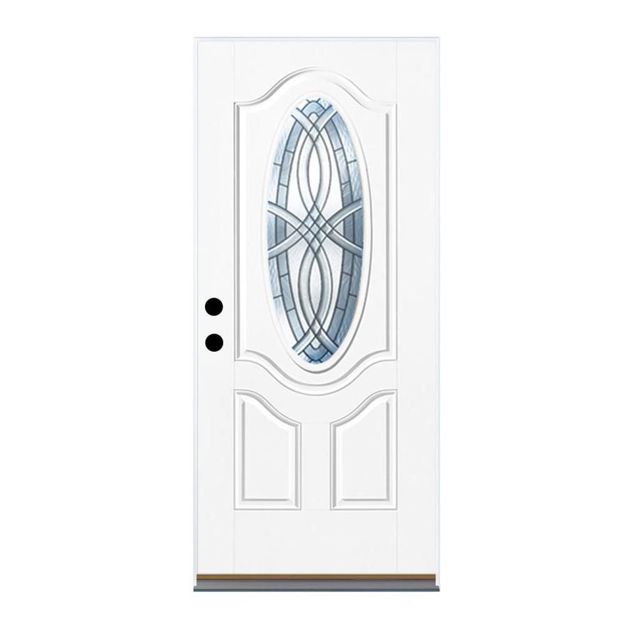 Therma Tru Benchmark Doors Terracourt 2 Panel Insulating Core Oval Lite  Right Hand Inswing Ready To Paint Fiberglass Unf