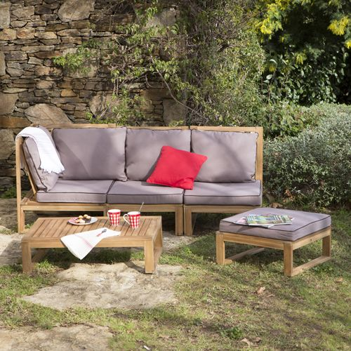 Canap DAngle De Jardin  Places  Table Basse En Acacia Movea