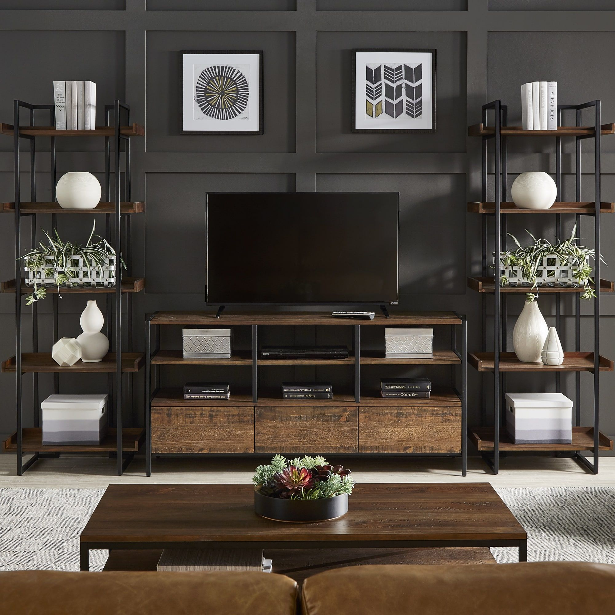 Modern Home Theatre Ideas: Corey Rustic Brown 3-Piece Entertainment Center By INSPIRE