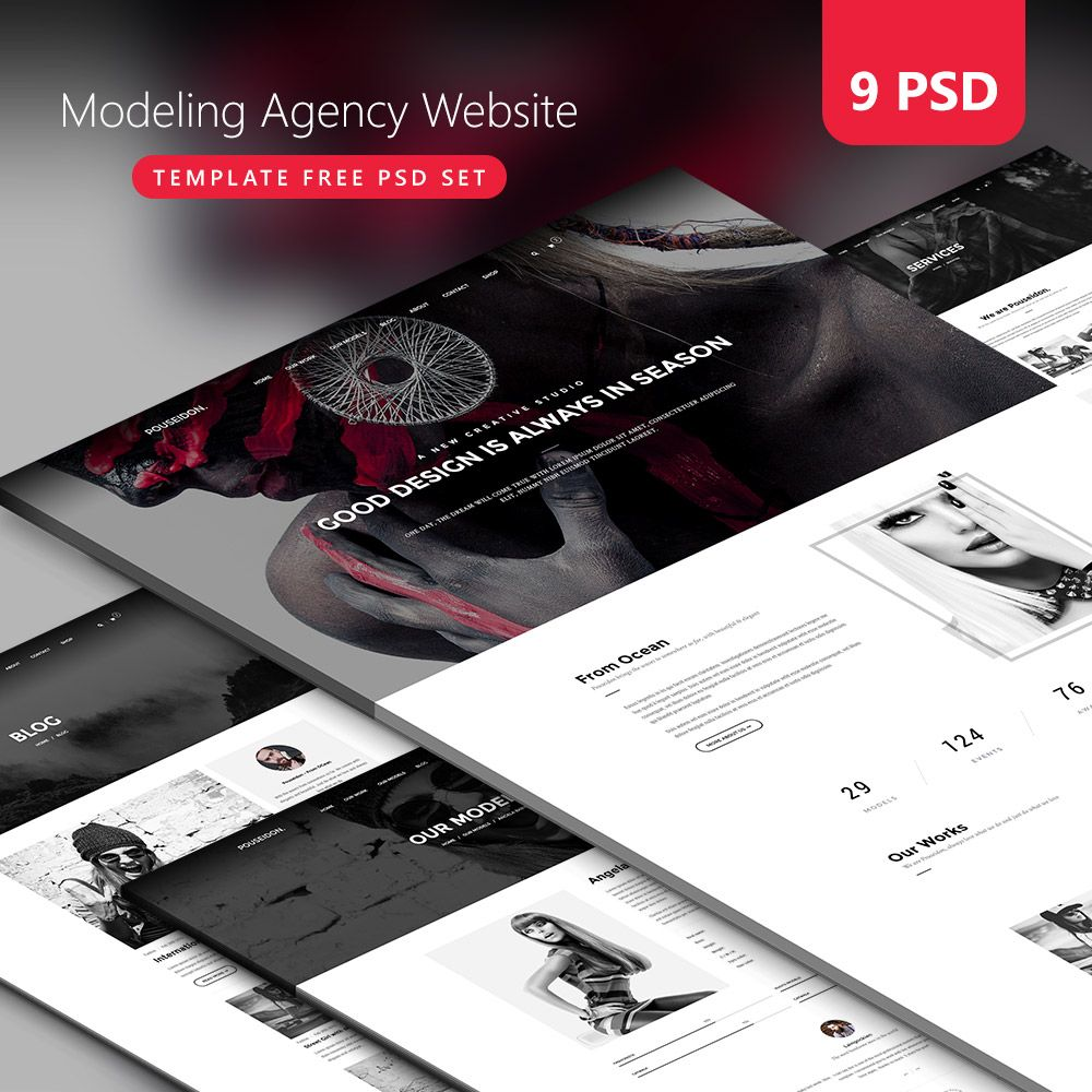 Nice Modeling Agency Website Template Free PSD Set Download - Complete website templates free download