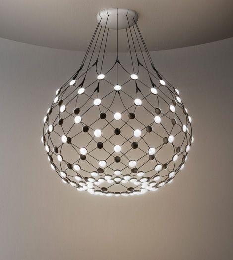 "Red Aesthetic Chandelier: Lamp ""Mesh"" Suspension Lamp Offering Multiple Lighting"