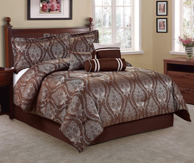 Living Colors Jacquard Brown 7Piece Comforter Sets at Big