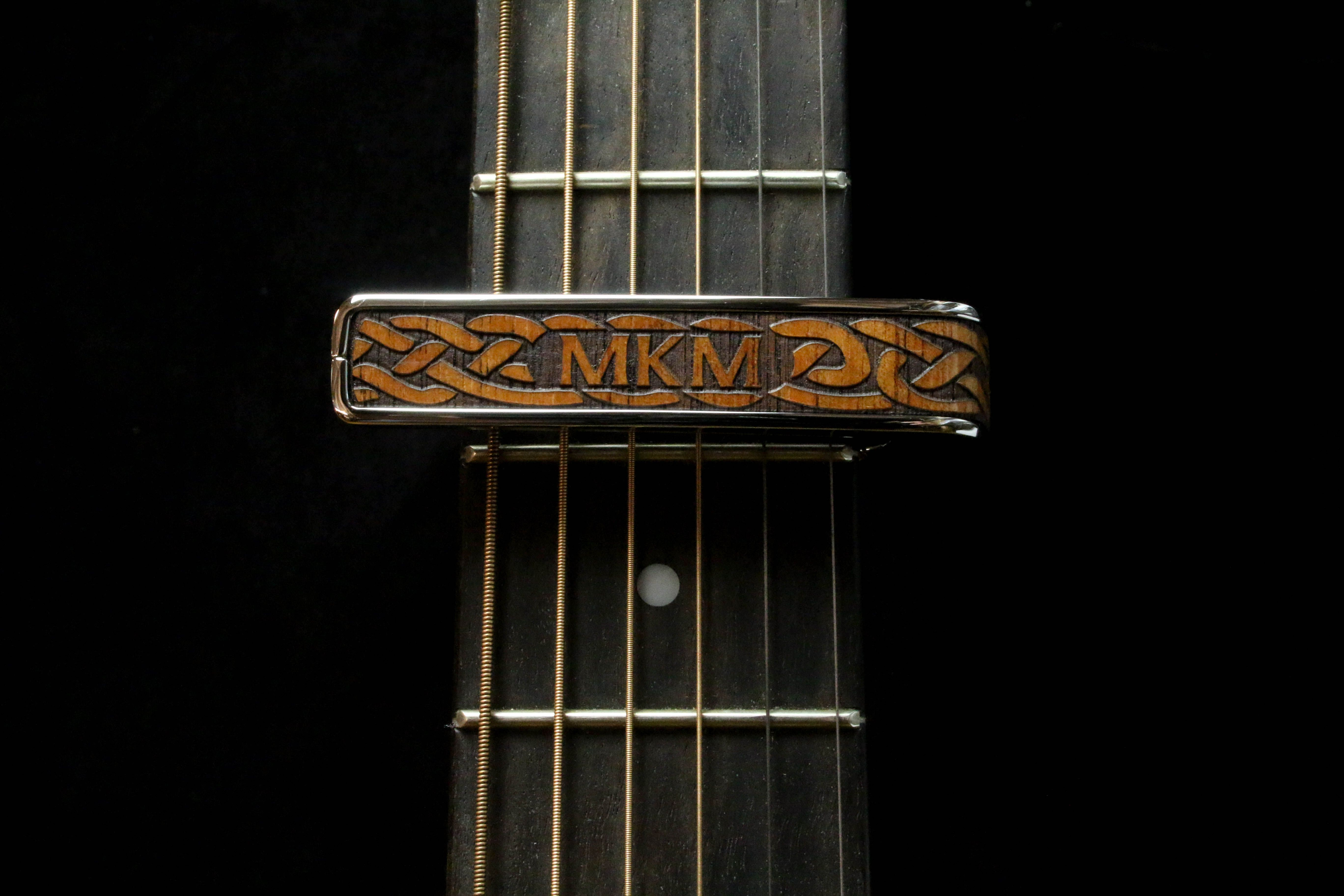 Hawaiian Koa Celtic Knot Engraved Black Chrome Finish