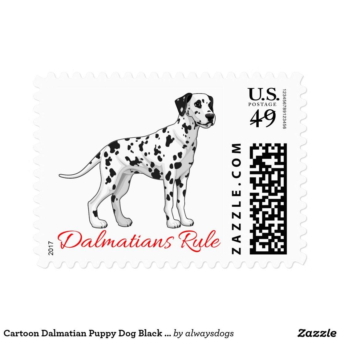 Cartoon Dalmatian Puppy Dog Black White Spots Postage Dalmatian Puppy Dogs And Puppies Puppies