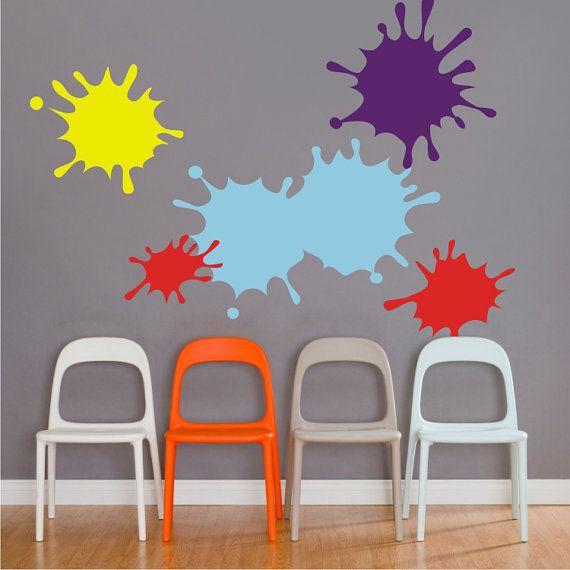 Paint Splatter Decals, Ink Splotch Wall Decal Set, Art