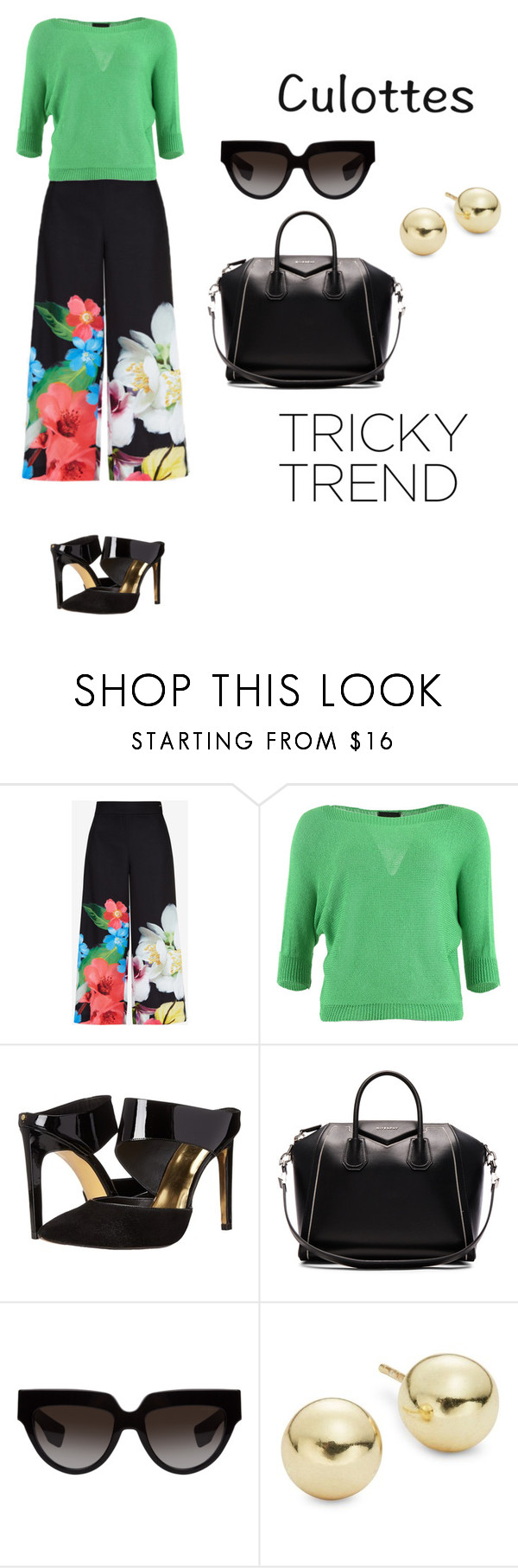 """""""Untitled #794"""" by alison-tann ❤ liked on Polyvore featuring Ted Baker, FRACOMINA, Givenchy, Prada, Lord & Taylor, TrickyTrend and culottes"""