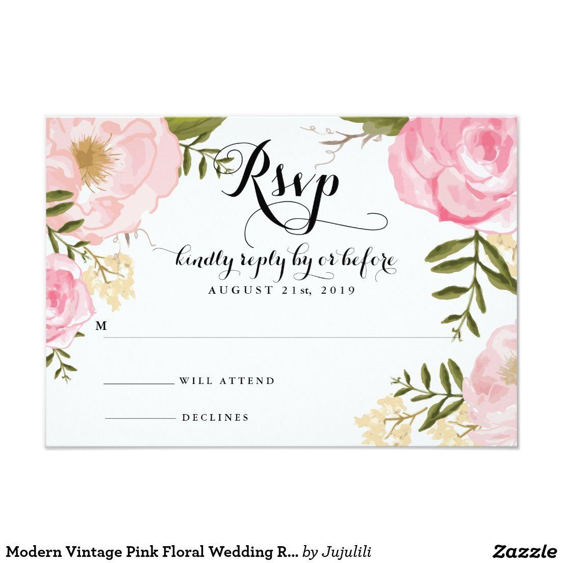 Modern Vintage Pink Floral Wedding RSVP Card | Logo | Pinterest ...