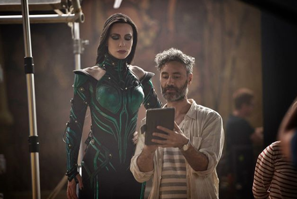 Hela Appreciates Modern Technology 39 Behind The Scenes Pictures That Ll Change How You Watch Marvel Movies Marvel Movies Marvel Cinematic Marvel
