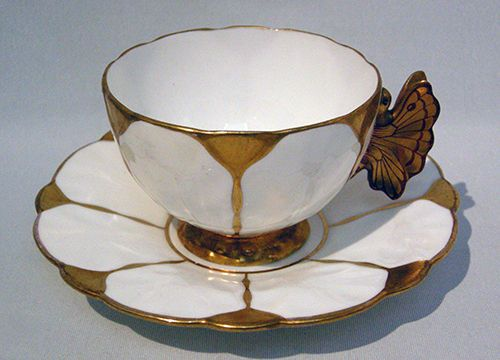 Very RARE Aynsley Gilded Gold Figural Butterfly Handle Cup Saucer C1920s | eBay