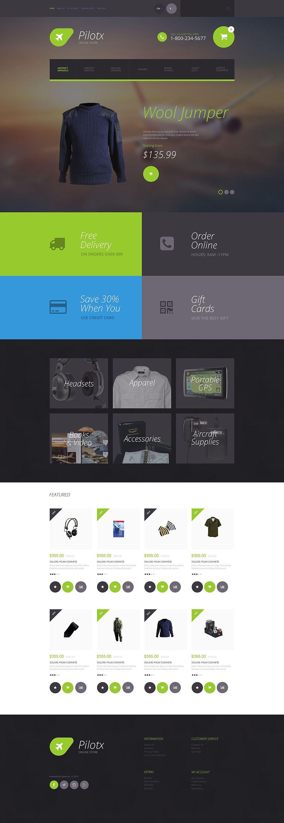 Pilotx OpenCart Template | Pilot store, Template and Ux design