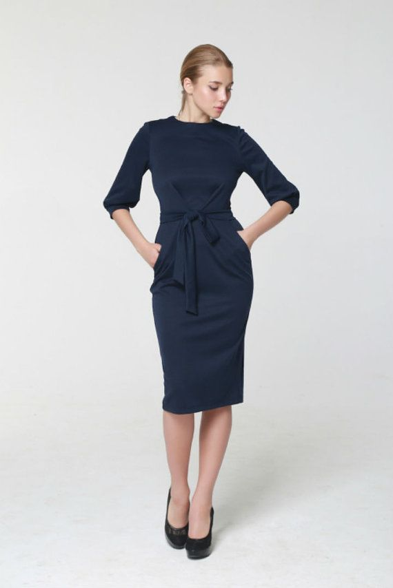 99a87d810ffb85 Maillot robe bleu marine Fitted.Simple hiver, robe manches 3 4 longueur  Knee.With poches chaudes robe travail
