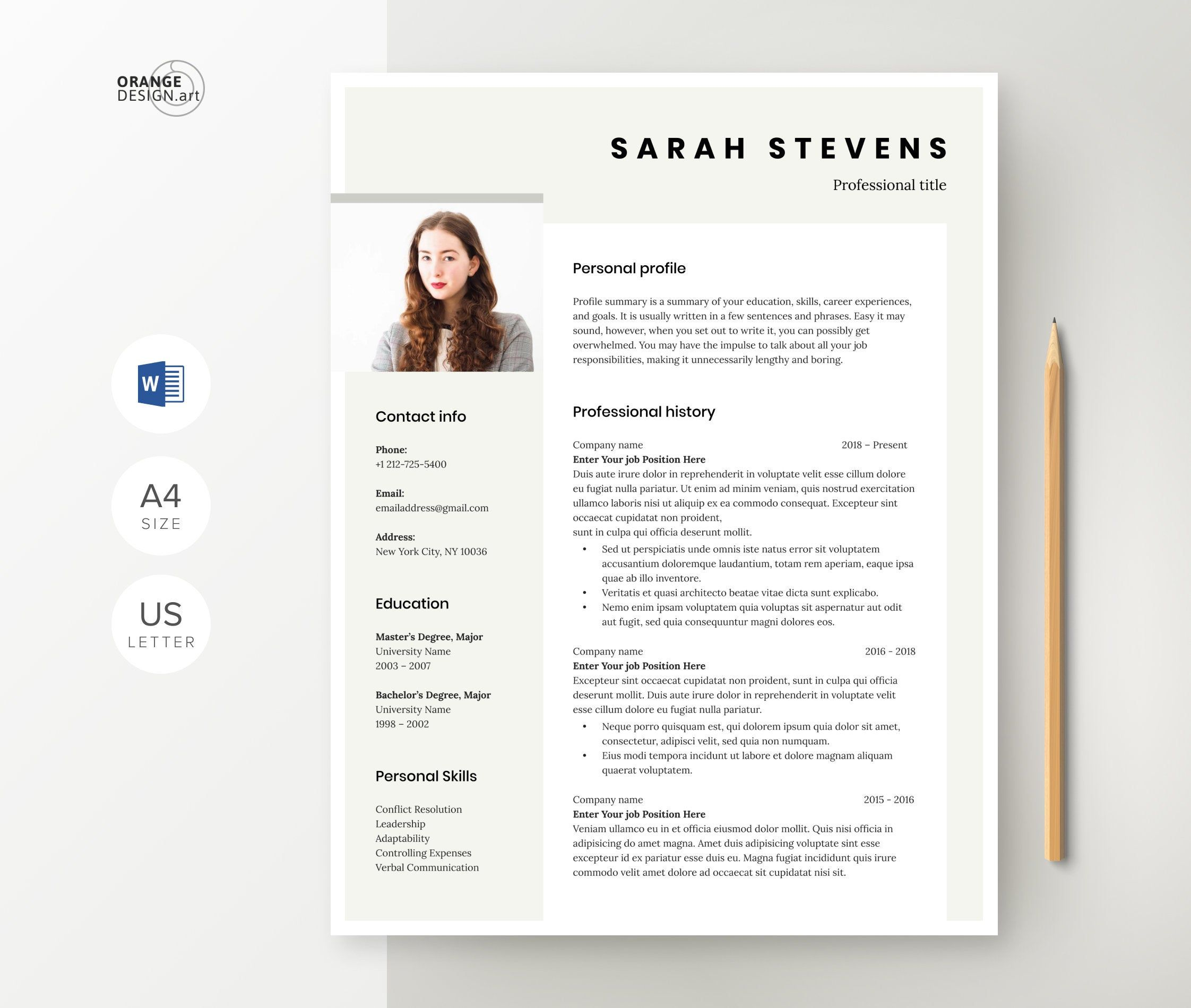 Elegant resume template for word professional cv with