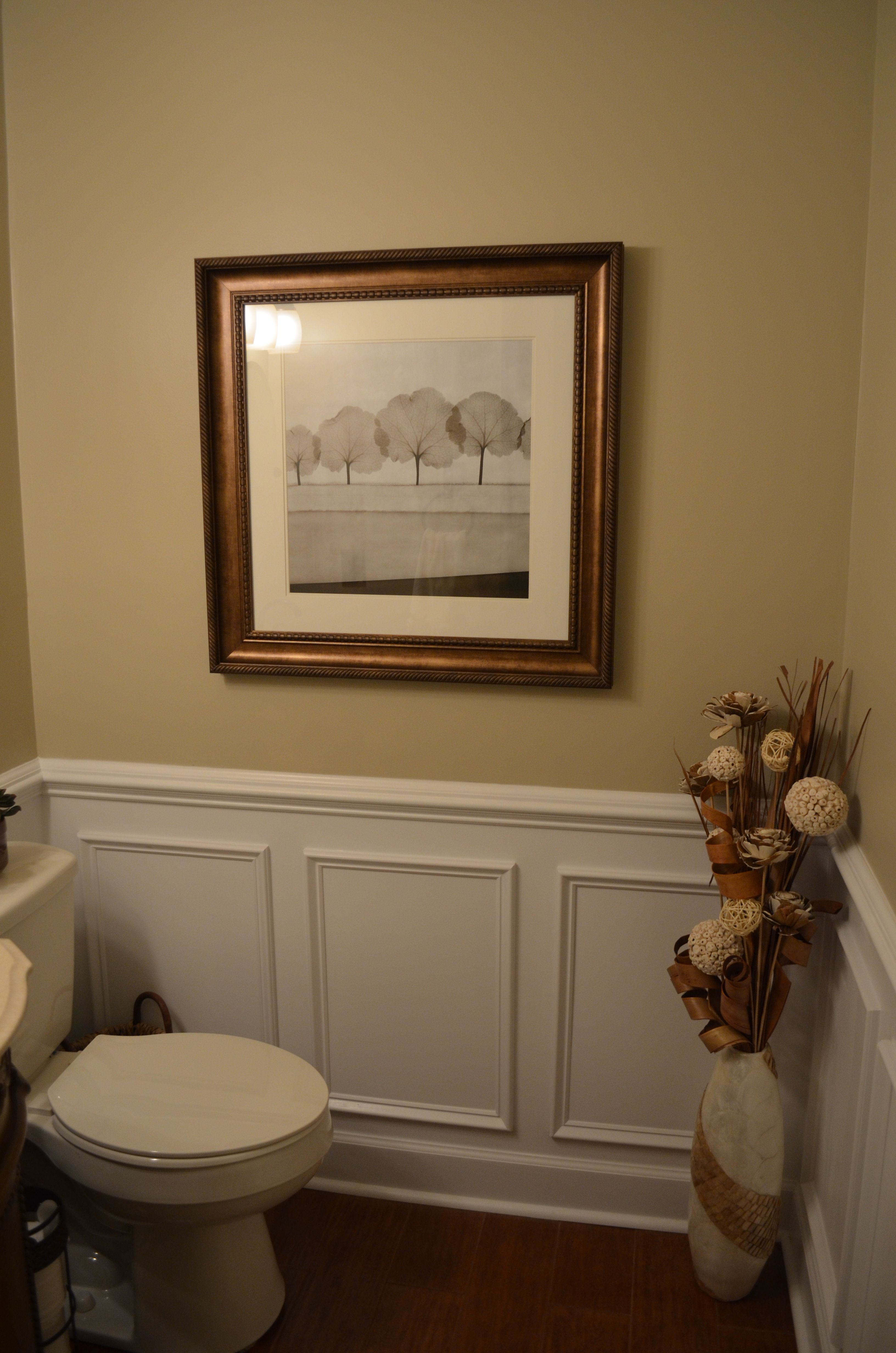 Husband Just Finished Small Bath Makeover Added Crown Molding Chair Rail An