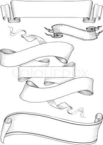 Tattoo Ribbon Banner : tattoo, ribbon, banner, Vector, 'ribbon, Banners, Engravin, Style', Tattoo, Banner,, Ribbon, Banner, Drawing